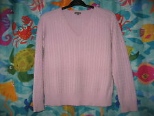 Womens Ann Taylor Light Purple Cashmere Cable-Knit V-Neck Long Sleeve Sweater L