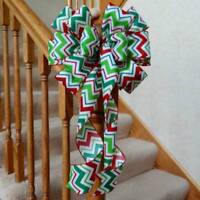 "10"" WIDE RED GREEN & WHITE CHEVRON CHRISTMAS BOW~DECORATION WREATHS CRAFTS GIFTS"