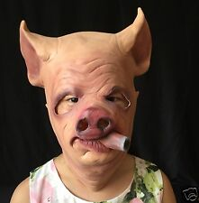 Funny Smooking Pig Head Adult Latex Mask Halloween Cosplay Mask