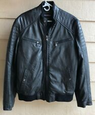 Emanuel Ungaro Men's L Rugged Lamb-Leather Cafe Motocycle Jacket Black