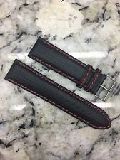24mm Carbon Fiber Watch Band Wrist Strap Black Leather / Red Stitch FREE SHIP