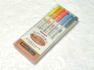 (5 Colors Pack set) Zebra MILDLINER Double Side Highlighter, WKT7-N-5C