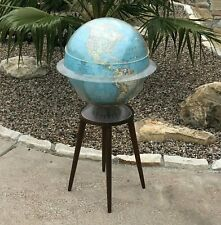 "Vintage Mid Century 16"" World Globe w Teak Stand ~ w Time Ring & Measurement Cap"