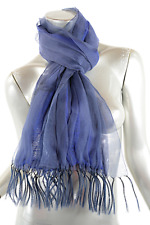 ISSEY MIYAKE Indigo Blue Mesh Pleated Scarf 66 x 8 Inner Royal Blue Stretch