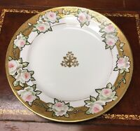 """Antique Nippon Japan White Roses Cake / Dinner Plate 10"""" Gold Moriage Hand Paint"""