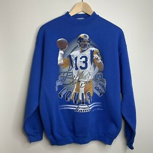 Vintage St Louis Rams Sweatshirt Mens Large 1999 Kurt Warner Los Angeles Tultex