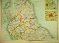 Old Antique Print 1898 Map England Wales Isle Man Manchester Sunderland 19th