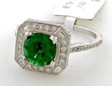 Beverley K Designer 18K Gold Green Tourmaline & Diamond Halo Engagement Ring New