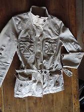 Ladies Military/Biker Style Beige Cotton Jacket/Coat - Size 12, EUR L  VGC
