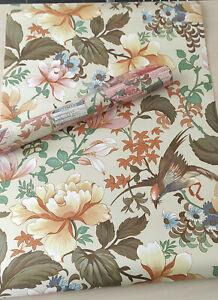 """1 ancien rouleau de papier peint """"Pivoines de Chine"""" 10mètres x 52cm + 3 mètres"""