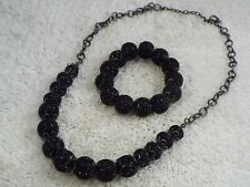 Gunmetal Black Disco Ball Bead Necklace + Stretch Bracelet (D22)