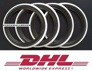 CUSTOM WEST STYLE 16 BLACK&WHITE WALL PORTAWALL TIRE INSERT TRIM SET X4  #464