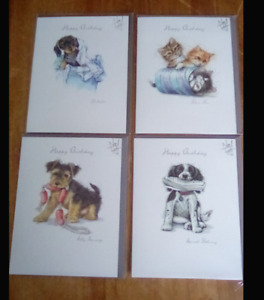 4 x birthday cards  16.5cm x 12.5cms assorted animal designs new