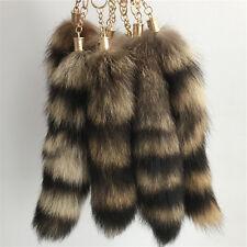Black Brown Real American Raccoon Fur Tail Keychain Tassel bag charm Key Ring