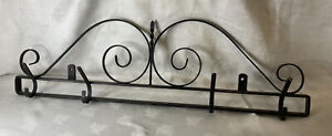 VINTAGE ORIGINAL FRENCH WROUGHT IRON BENT METAL COAT HAT RACK HANGER ORNATE WELD