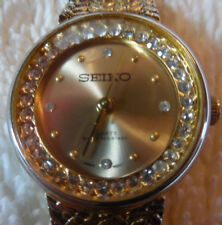 Seiko Water Resistant Quartz Japan Movement Gold Tone Diamond 160-35CC