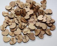 100 Small wooden love hearts wedding decor table confetti