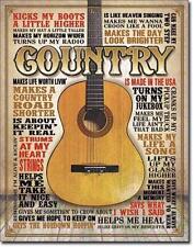 Country Musik Western Bar USA Gitarre Metall Schild Deko Plakat Gitarren Grafik