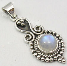 925 Sterling Silver Real RAINBOW MOONSTONE Round Gemstone TRIBAL Pendant 1.5""