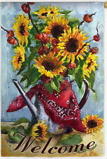 New Lg Evergreen Double Sided Welcome Flag Bandana Sunflowers 29 X 43