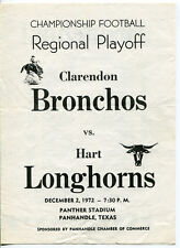 1972 Texas State Playoff Game Program Clarendon v Hart Dec. 2