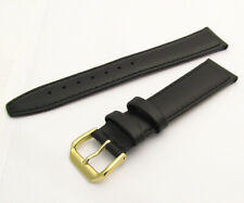 Padded Calf Leather Watch Strap 077R 18mm Black