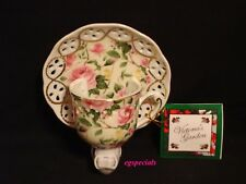 PORCELAIN FLORAL TEACUP NIGHTLIGHT/NIGHT LIGHT~PINK AND YELLOW ROSES