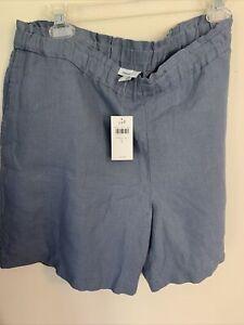 J Jill Size Large 100%  Linen Shorts Elastic Pull-on Flat Front NWT BLUE