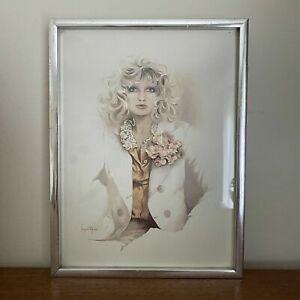 Vintage 1977 'SARA MOON' Small SILVER Framed GLAMOUR Lady PRINT 'Belinda'