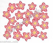 50 bijoux Déco d'Ongles Tranches de Fimo Fleurs Etoiles Rouge Nail Art