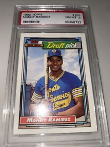 1992 Topps MANNY RAMIREZ Cleveland Indians RC #156 Rookie Graded PSA 8 NM-MT