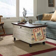 Sauder Eden Rue Rolling Coffee Table/Chest, White Plank
