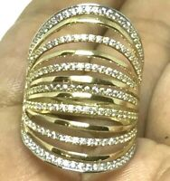 GOLD 14k Multi ring semanario stack Simulated Diamond Wide size 7 ask 6 8