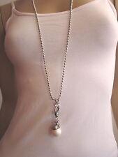 Damen Hals Kette Modekette lang Froschkönig Frosch auf Kugel Perle Frog Pearl 1