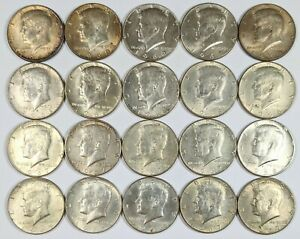 Lot of 20 Kennedy Half Dollars 40% Silver 190406B