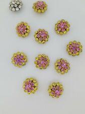 Swarovski Vintage Crystal Buttons New 10 2-Tone Gold/Pink 1 White Designer Rare