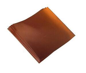 "Copper Foil Sheets 5 mil/ 36 gauge tooling metal  6"" X 12"" (4)  CU110 ASTM B-152"