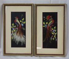 2 Vtg Feathercraft Mexican Art Wall Pictures Set Birds Folk Handmade Framed