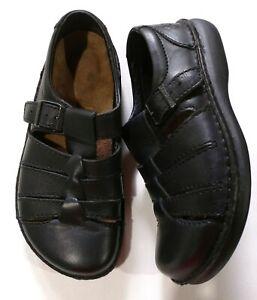 Birkenstock Footprints - ladies black Fisherman sandals Portugal - sz 38 (US 8)