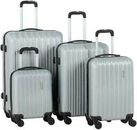 """4 Pcs Luggage Set Trolley Spinner Suitcase Travel Bag 16"""" 20"""" 24"""" 28"""" Silver"""