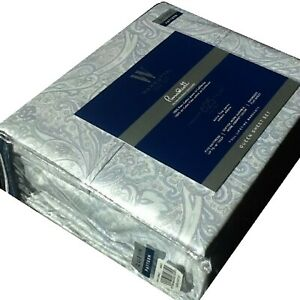 BLUE GRAY Paisley QUEEN Sheet Set Wamsutta 625 TC 100% Pimacott Cotton NEW