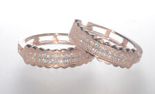 Rose Gold Plated 17mm x 5mm Sterling Silver Micropave Cz Huggie Hoop Earrings