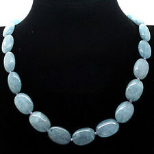 "13x18mm Natural Blue Aquamarine Gemstone Oval loose Beads Necklace 18"" AAA"