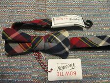 Bow Tie Tuesday 100% Cotton Red Gray  Plaid Bow Tie SR$40 NEW
