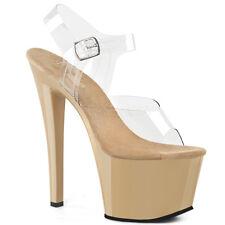 """7"""" Clear Black Sole Platform Heels Ankle Strap Stripper Pole Dancer Shoes 8 9 10"""