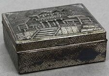 Vintage ORNATE PAGODA SILVER-TONE ON BRASS CIGARETTE BOX MADE IN JAPAN Pat. 6959