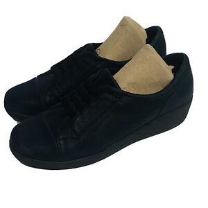 EASY SPIRIT E360 Kandance Navy Textile Slip on Loafers Wedge Comfort Shoes 8.5