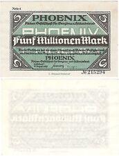 Alemania Dusseldorf Phoenix 5 Millones De Mark 1923 AU-NO CIRCULADO inflationsgeld Billete