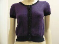 Vintage Topshop Wool Angora Blend Purple Black Colour Block Cropped Cardigan 12