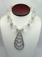 "Vtg Clear 20mm Crystal Rhinestone Ball Dangle Pendant 15.5"" Statement  Necklace"